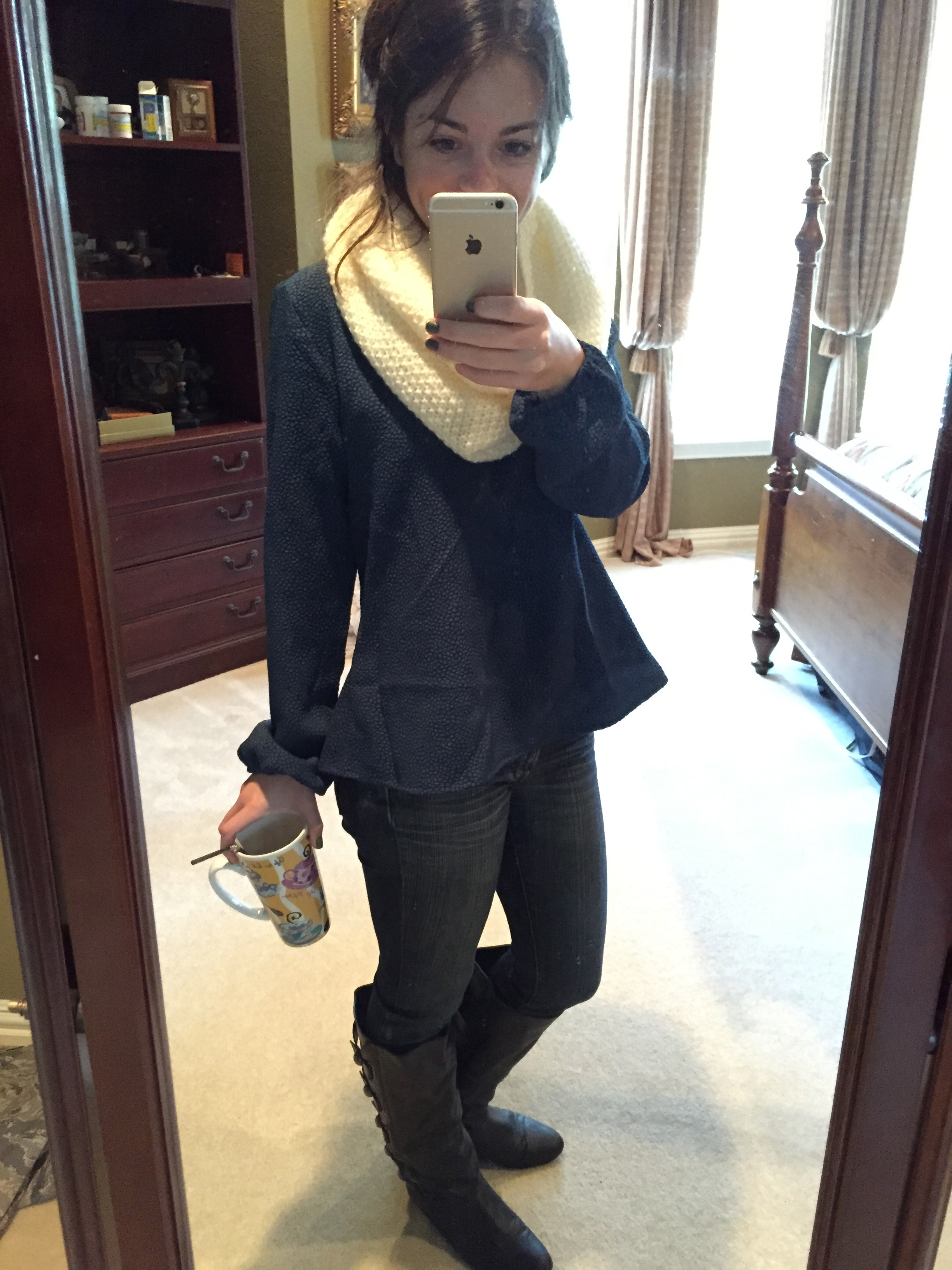 33d5823a982 Scarf//Shirt//Skinny Jeans//Tall Black Boots (version of the brown). (I  think Sheaffer's case for ...
